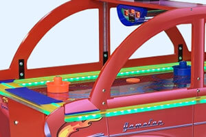 The Wik GameCar air hockey table close up.