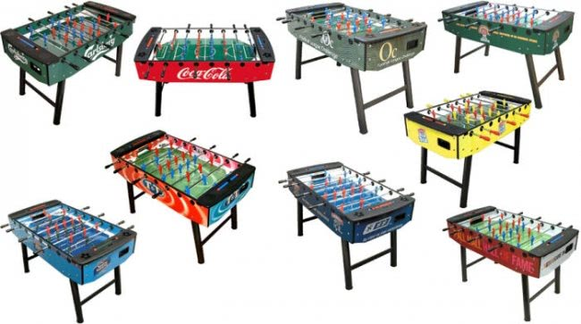 The Striker football table can be branded with artwork