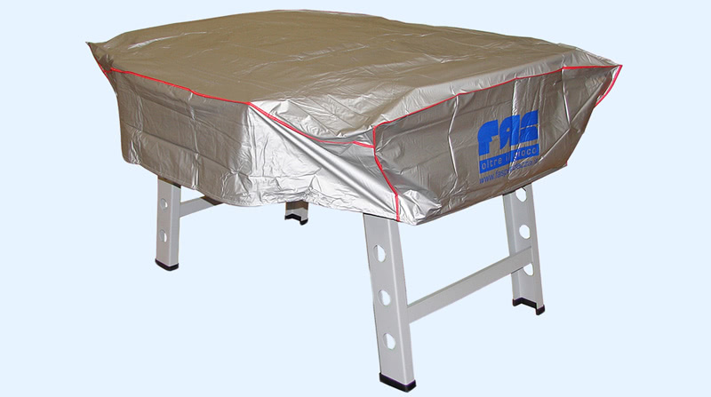 The Striker football table fitted with protective cover