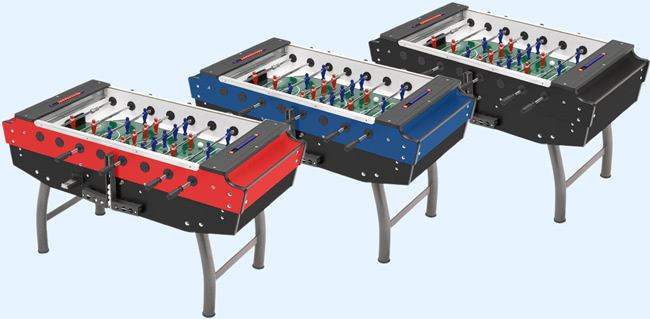 The Striker football table in three colours - red, blue and black