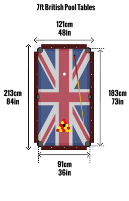 British 7ft pool table sizes