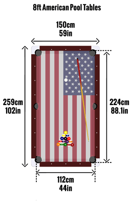 American 8ft pool table sizes