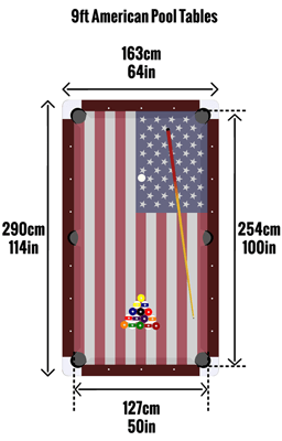 American 9ft pool table sizes