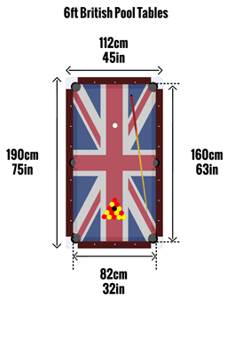 British 6ft pool table sizes