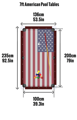 American 7ft pool table sizes