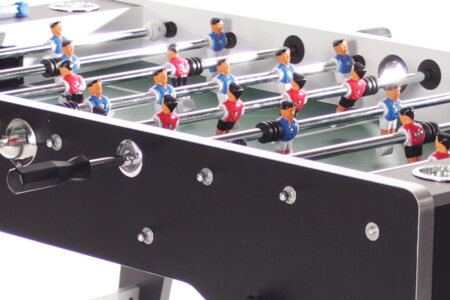 The telescopic rods on a Tekscore Full Size football table.