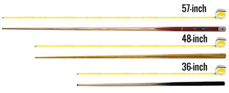 The three main sizes of pool cue.
