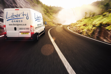 The Liberty Games van on a delivery.