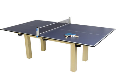 A table tennis top on a pool table.