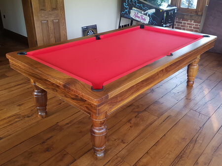 A traditional pool table.