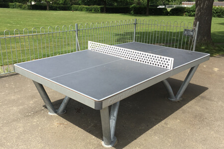 The Cornilleau Park anchored outdoor tennis table.