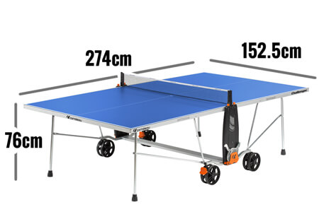 Regulation dimensions of a full-size table tennis table.