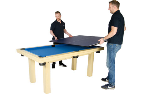 The Tekscore Table Tennis top being fitted to a pool table.
