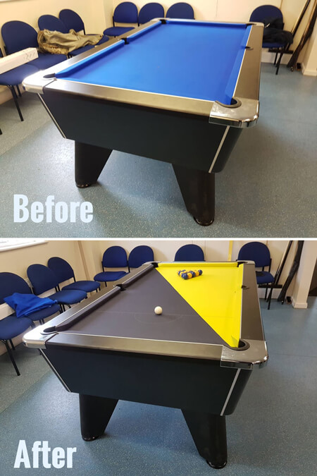 A pool table recovered with a custom cloth.