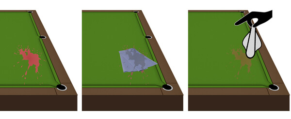 How to remove stains from pool table cloth.