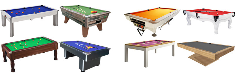 A selection of British pool tables
