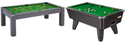 A pool dining table and a conventional table.