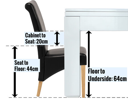 A diagram showing how to check chair space under a pool table.