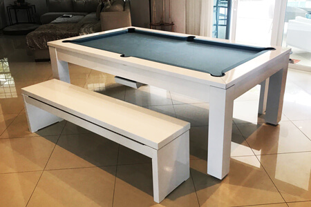 A Phoenix pool dining table with benches.