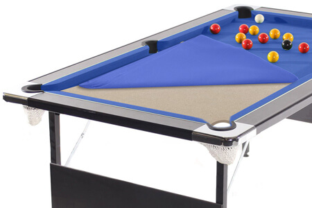 A pool table showing the MDF bed.