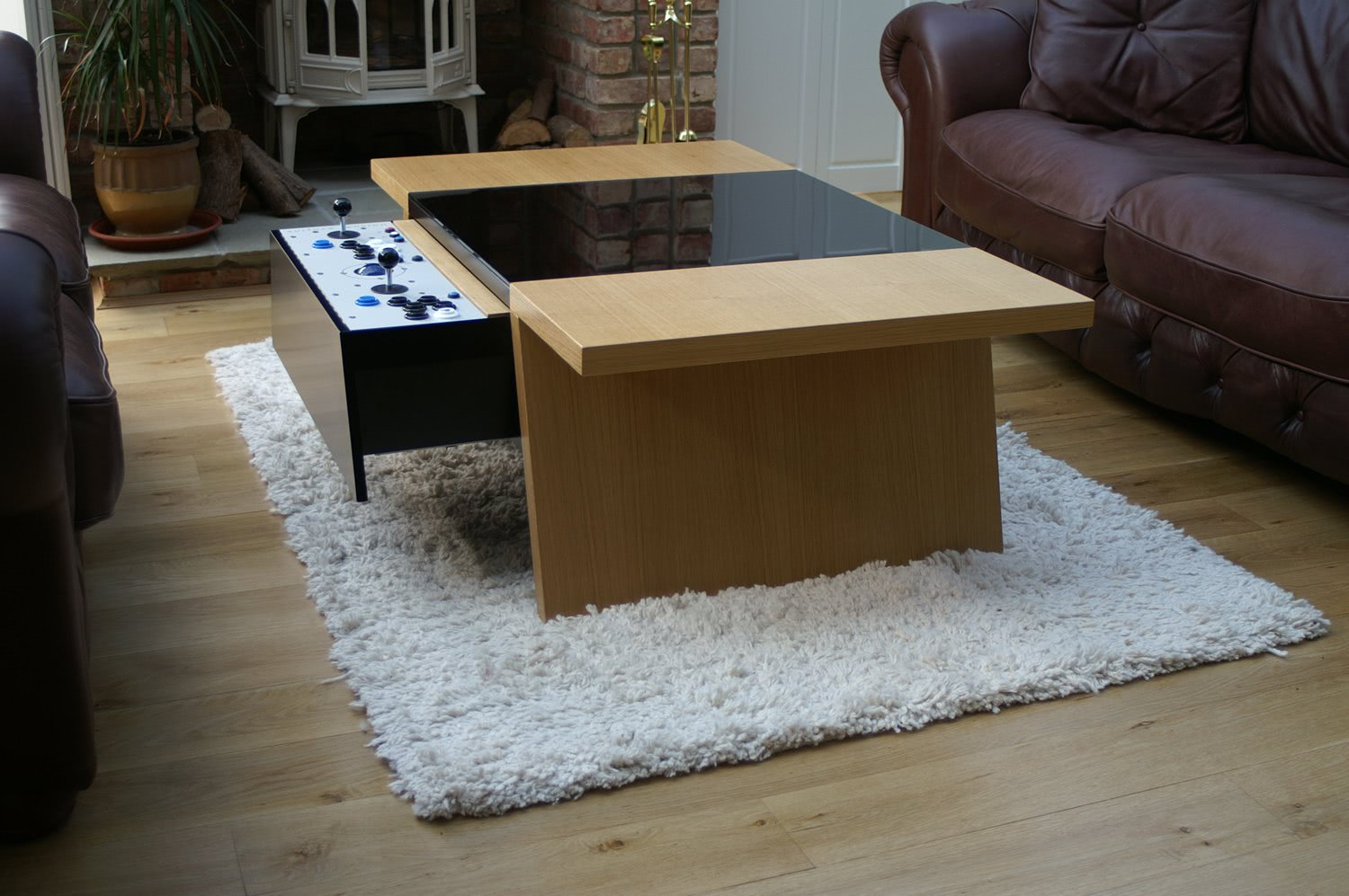 Double 7 contemporary arcade coffee table liberty games double 7 arcade coffee table oak finish with control panel geotapseo Image collections
