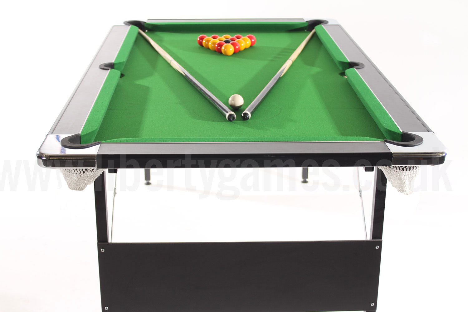 Deluxe Foldaway Pool Table With Green Cloth