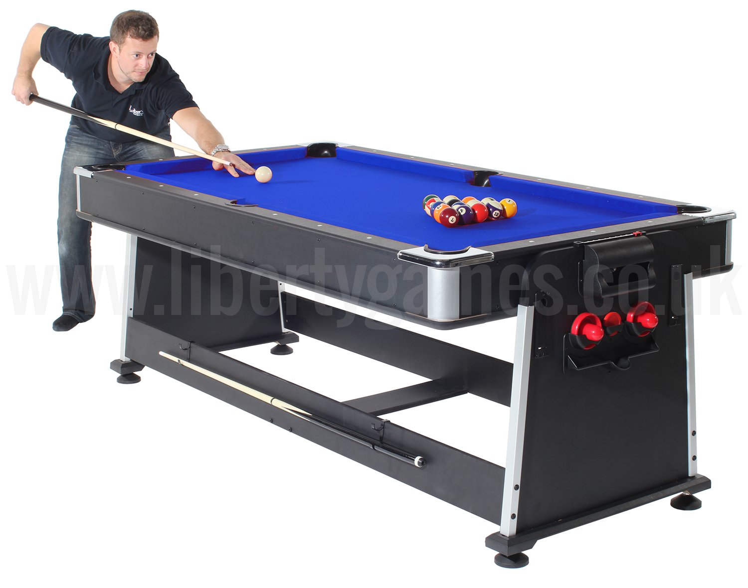 Strikeworth multi games table with blue cloth liberty games for 10 in 1 pool table