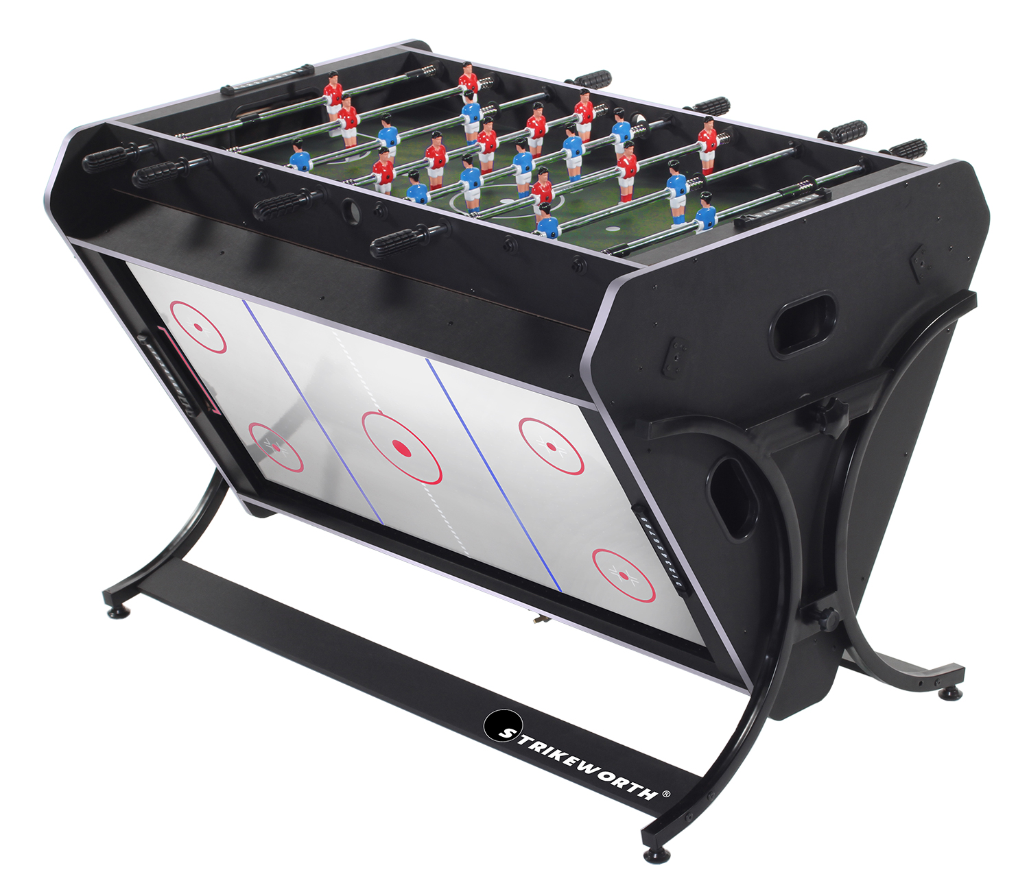 Strikeworth trisport multi games table pool air hockey for Table 4 en 1 intersport
