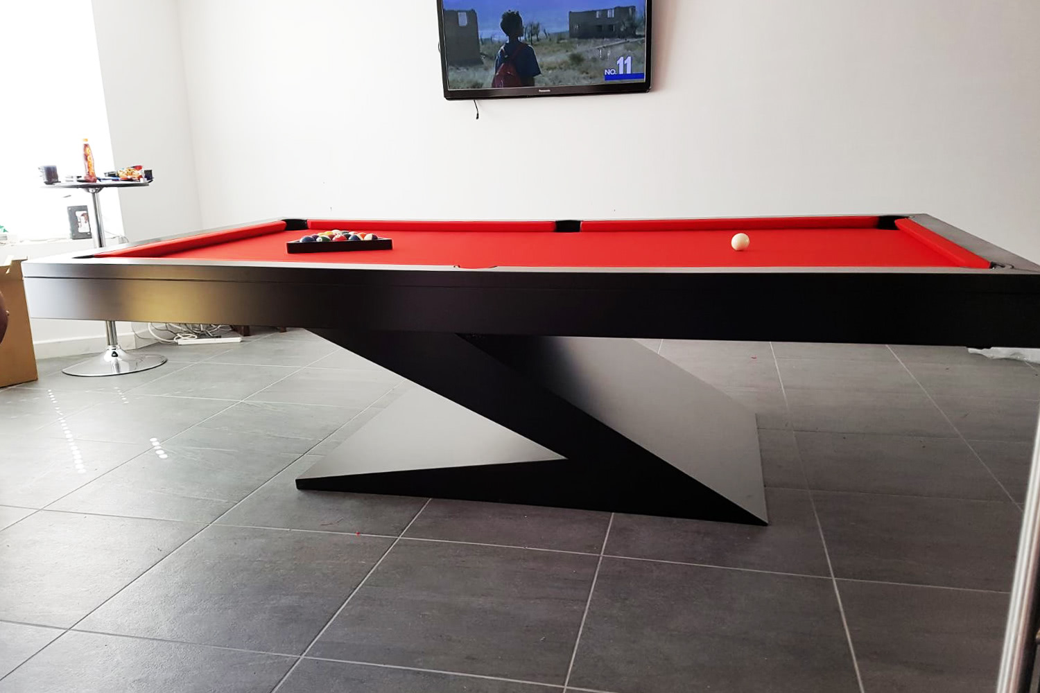 Zen Pool Table In Black With Red Cloth