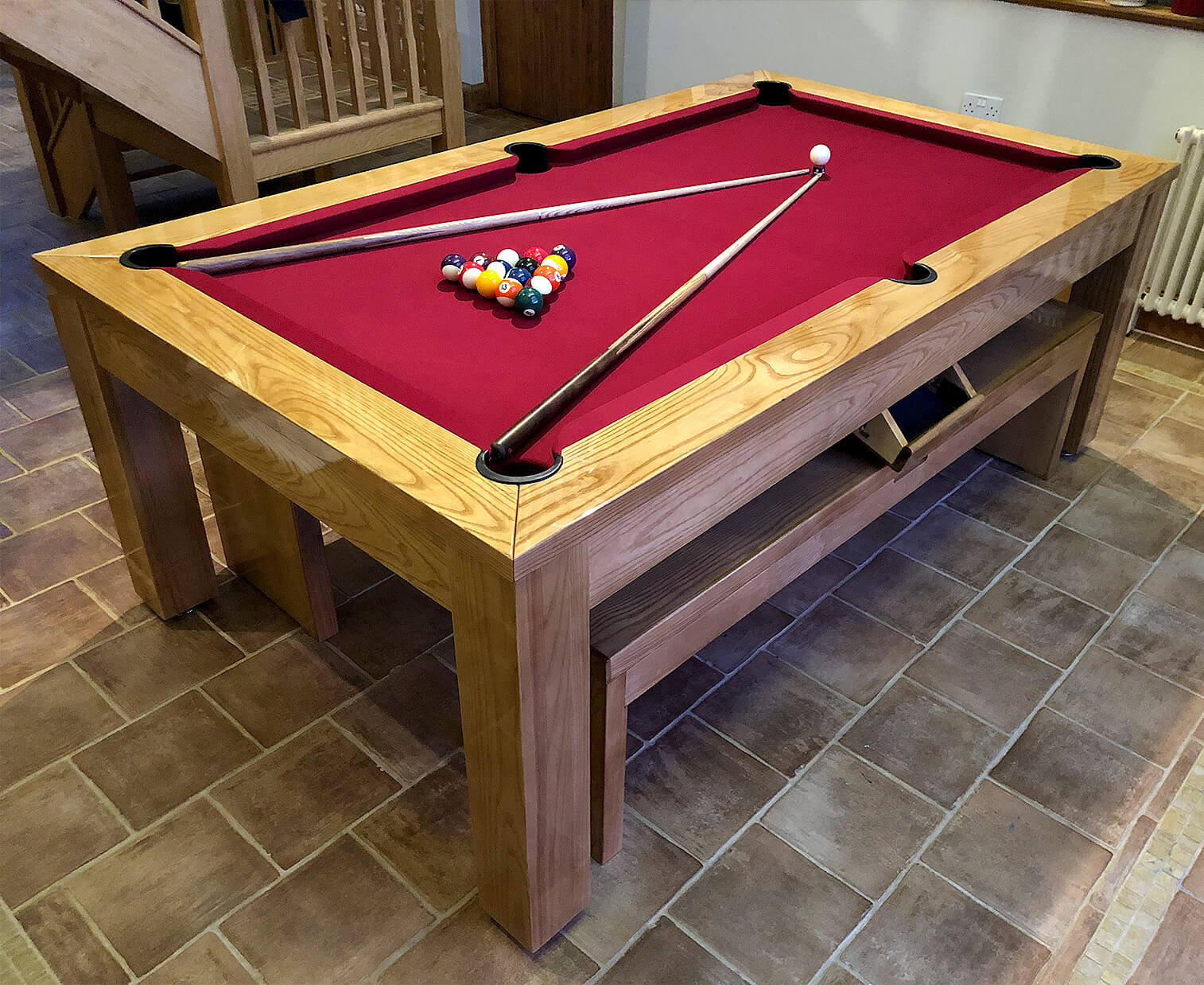 the precision 7ft solid oak slate bed pool dining table