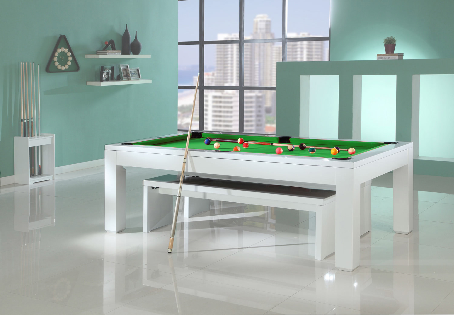 The Phoenix Solid Wood 7ft Slate Bed Pool Dining Table ...