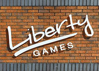 Liberty Games Logo on Brick