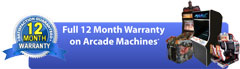 Full 12 Month Warranty on Arcade Machines