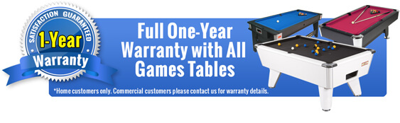 Full 12 Month Warranty on Games Tables