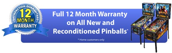 Full One Year Warranty on All New & Reconditioned Pinballs