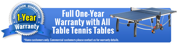 Full One Year Warranty on Table Tennis Tables